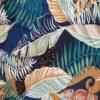 folhas em fundo azul marinho