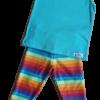 Regata verde água e calça legging arco-íris