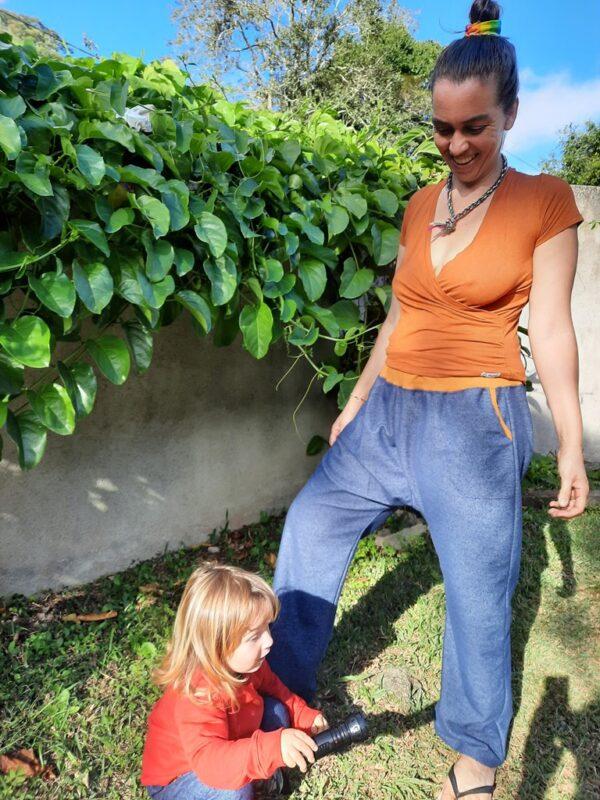 Calça saruel adulto estilo jeans